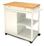 Butcher Block Kitchen Cart with Trash Bin