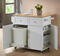 Extendable Kitchen Cart with Hidden Trash Bin