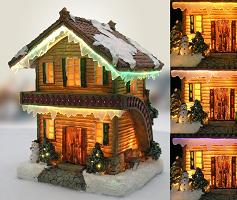 Fiber Optic Log Cabin Christmas Village