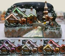 Fiber Optic Village with River Christmas Scene