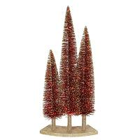 Mini Artificial Christmas Tree With Red Lights