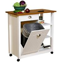 Rolling Kitchen Cart with Trash Bin