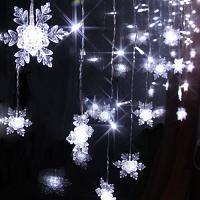 Snowflake Curtain Christmas Lights White