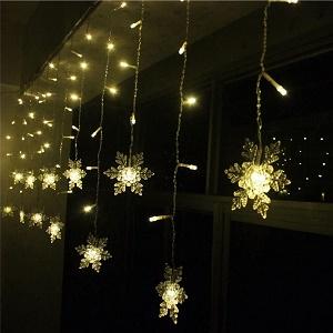Snowflake Curtain Light Plug in String Light