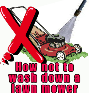 washing a lawn mower