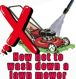 washing a lawn mower